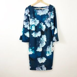 Calvin Klein Floral Bell Sleeve Fitted Dress 10